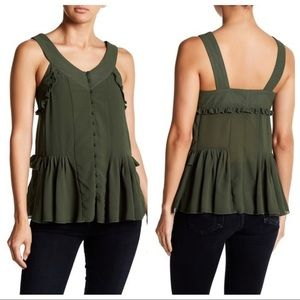 NWT Romeo & Juliet Couture Ruffle Tank Olive Green